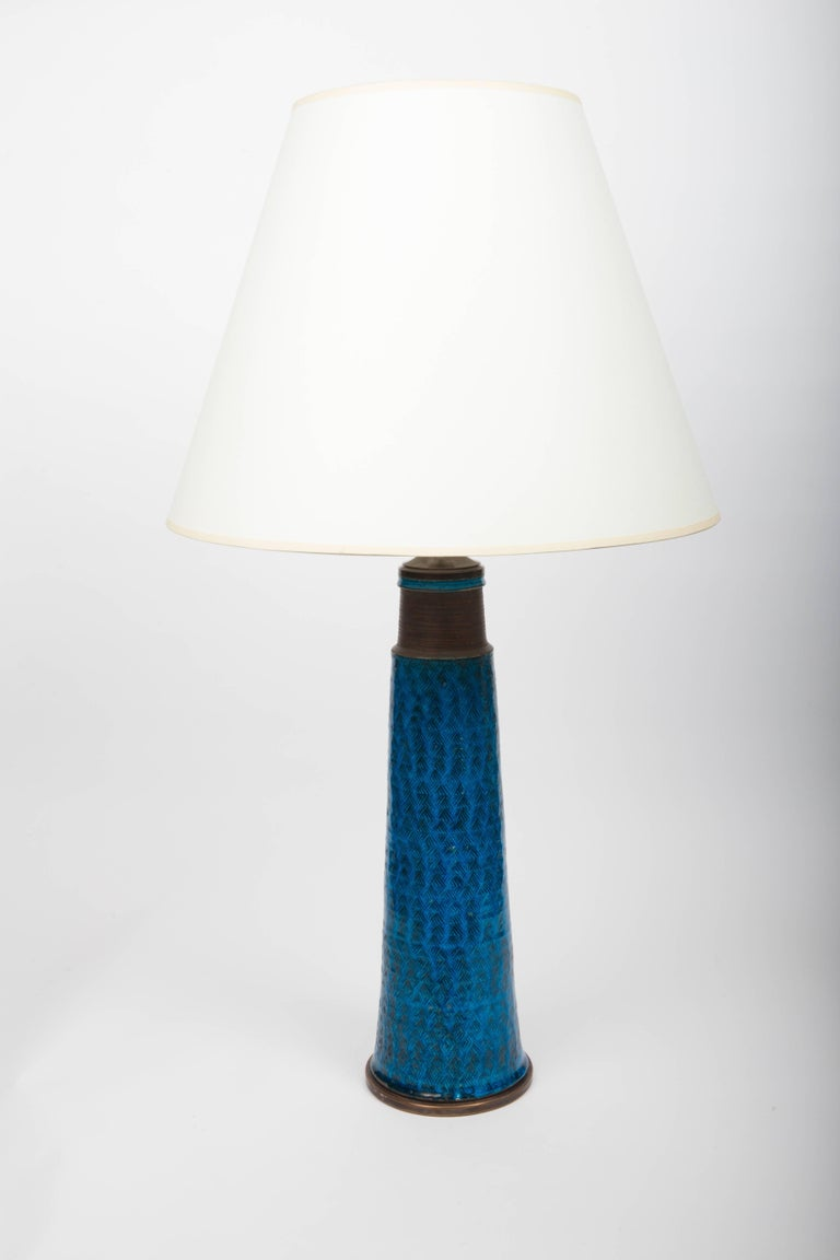 Bright Cobalt Blue Ceramic Table Lamp, Denmark, 1960s For Sale 2