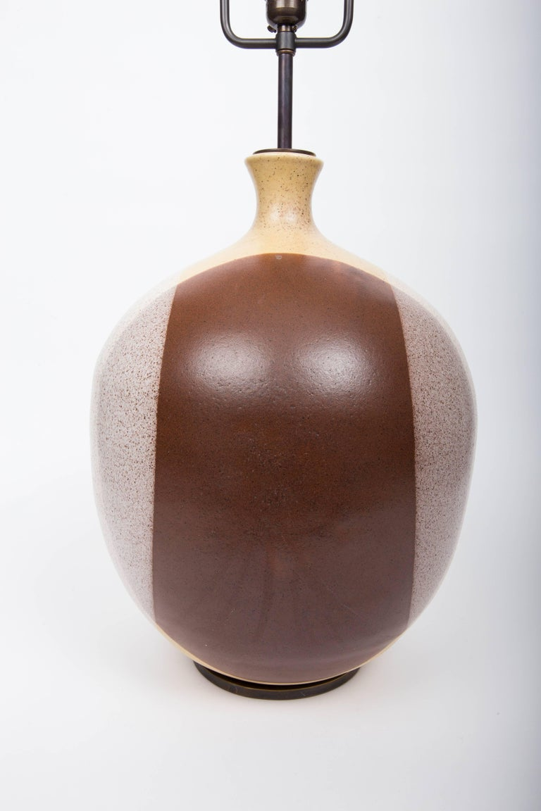 Bronze Ceramic Lamp, Attributed to David Cressey For Sale