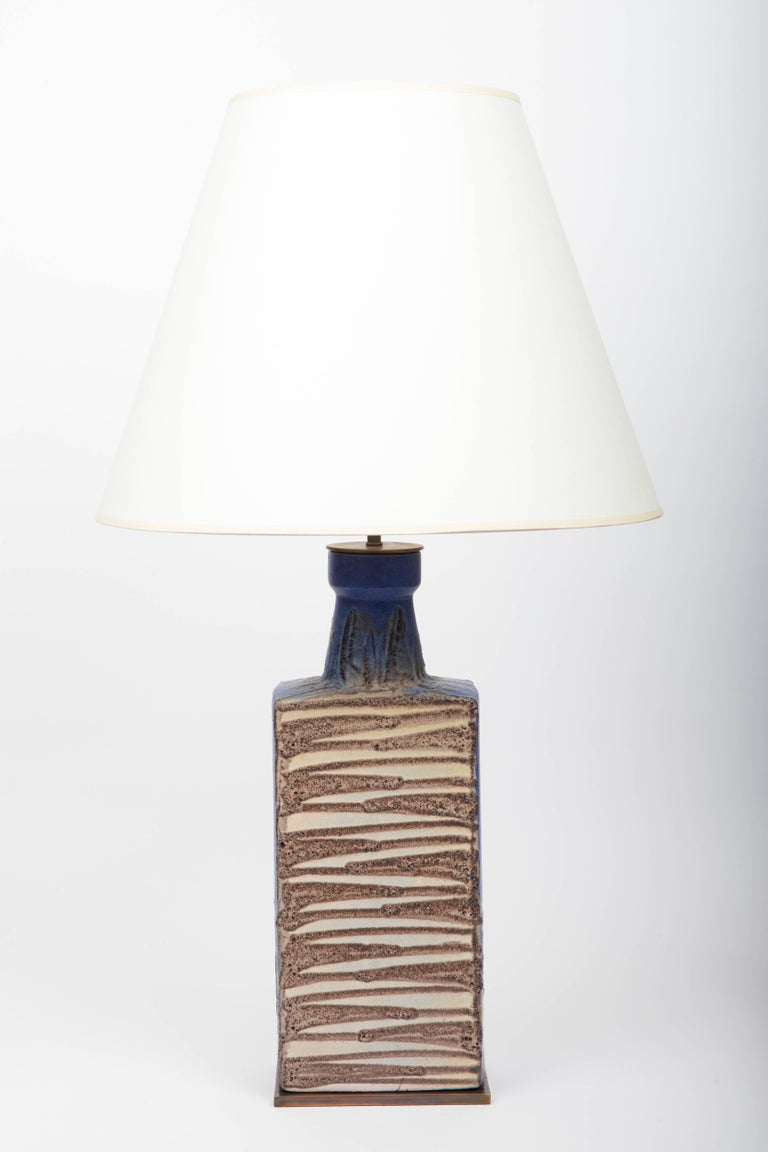 Blue and brown ceramic vase attributed to Raymor, converted into lamp, 20th century, France  Shade not included Newly rewired with black twisted silk cord and bronze finish on fittings.