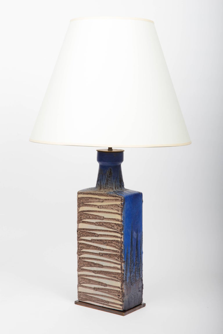 French Blue and Brown Ceramic Vase, Attributed to Raymor, Converted into Lamp For Sale