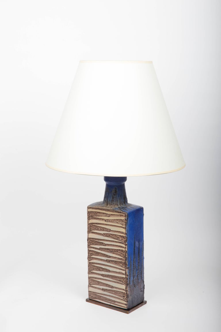 Blue and Brown Ceramic Vase, Attributed to Raymor, Converted into Lamp For Sale 3