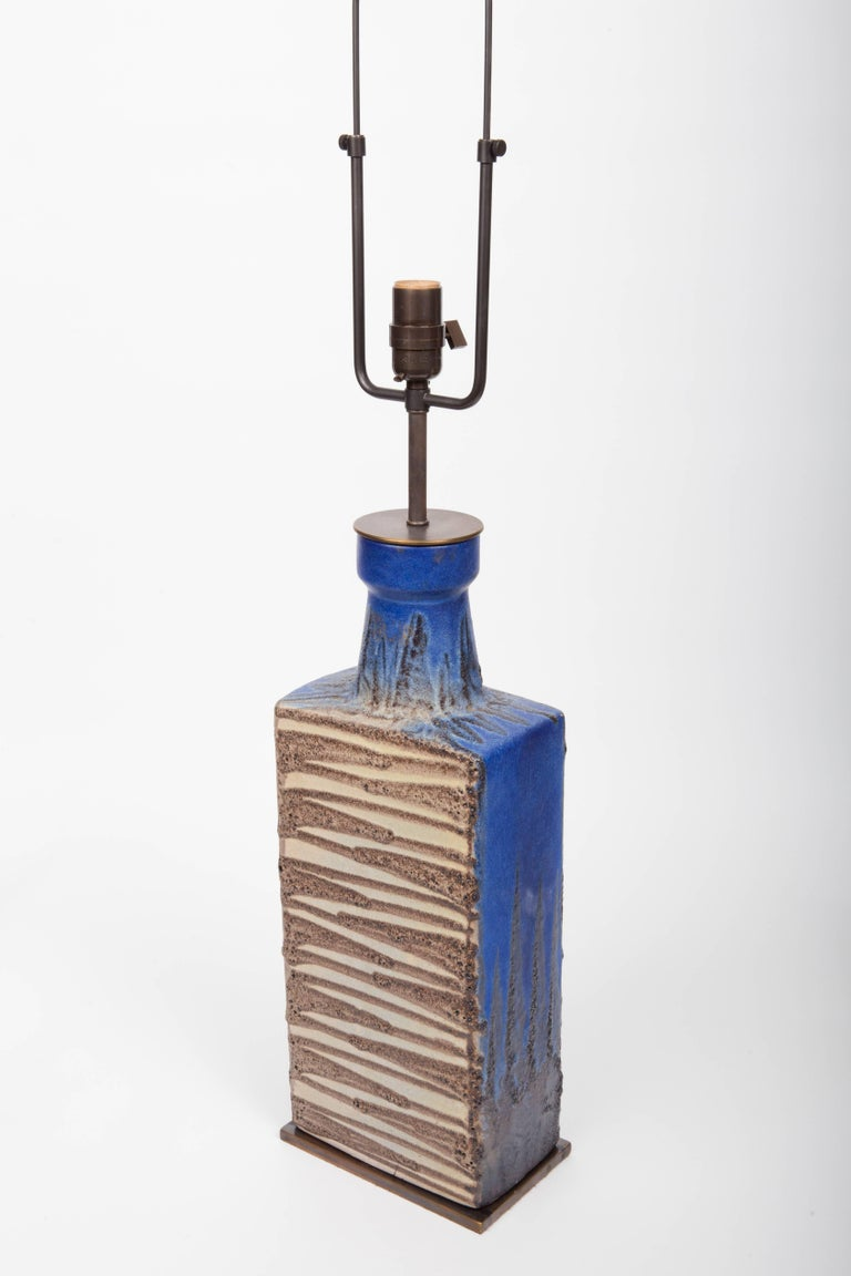 Blue and Brown Ceramic Vase, Attributed to Raymor, Converted into Lamp For Sale 2
