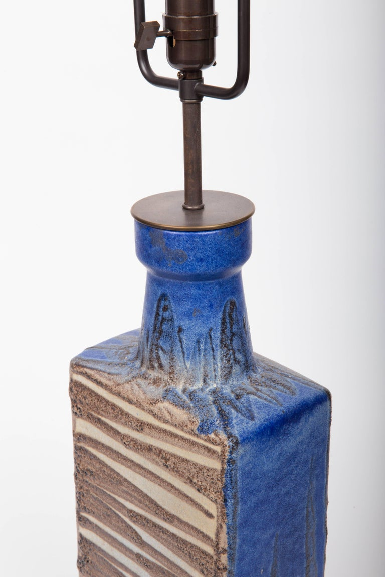 Bronze Blue and Brown Ceramic Vase, Attributed to Raymor, Converted into Lamp For Sale