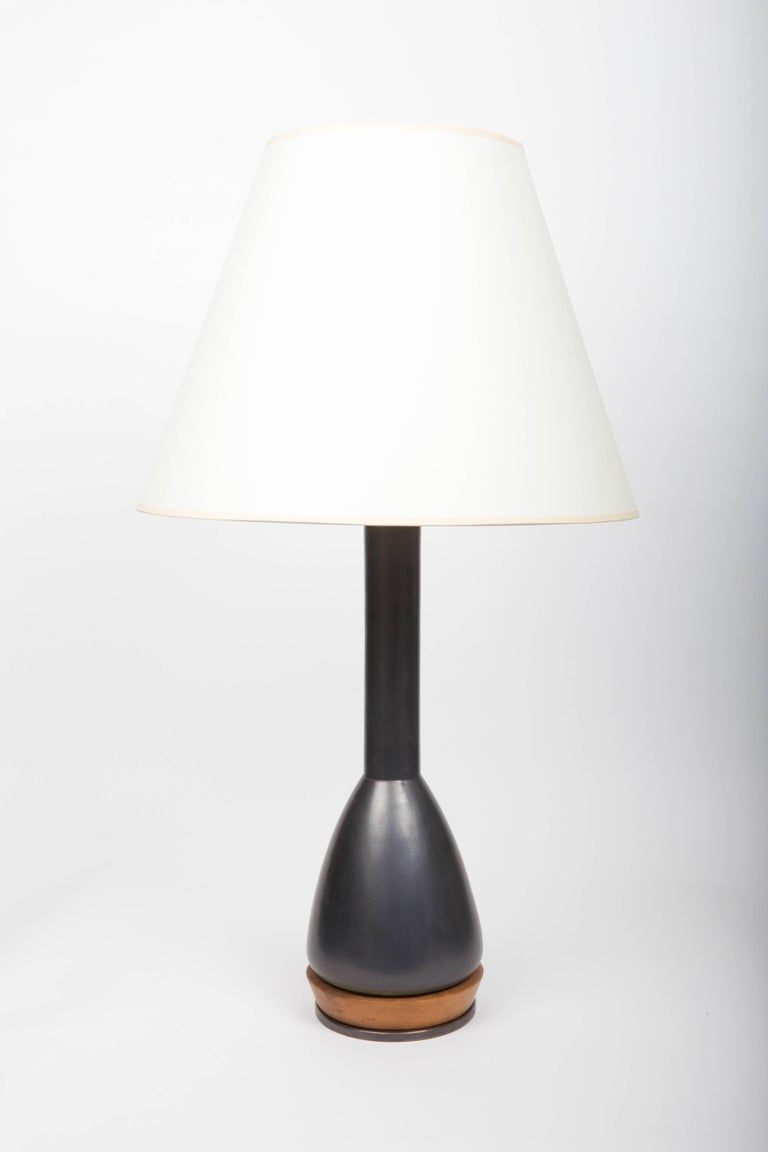 Black Ceramic Table Lamp, Attributed to Martz For Sale 1