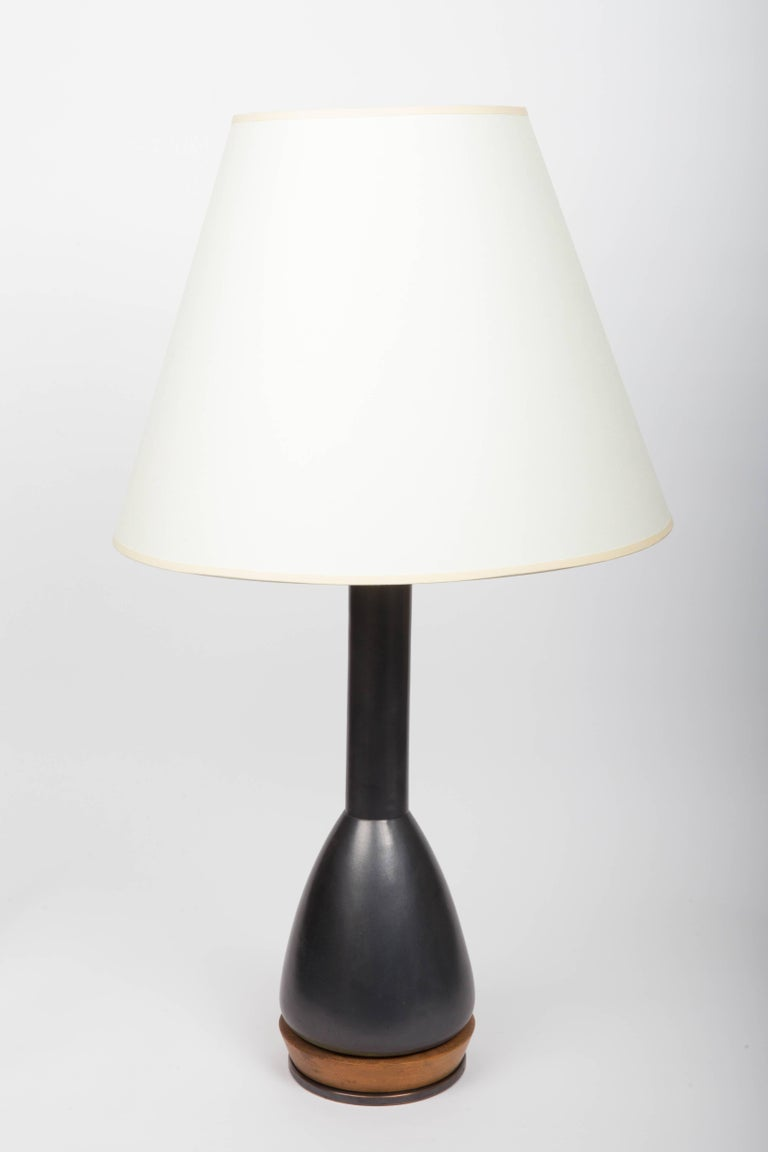 Black Ceramic Table Lamp, Attributed to Martz For Sale 2