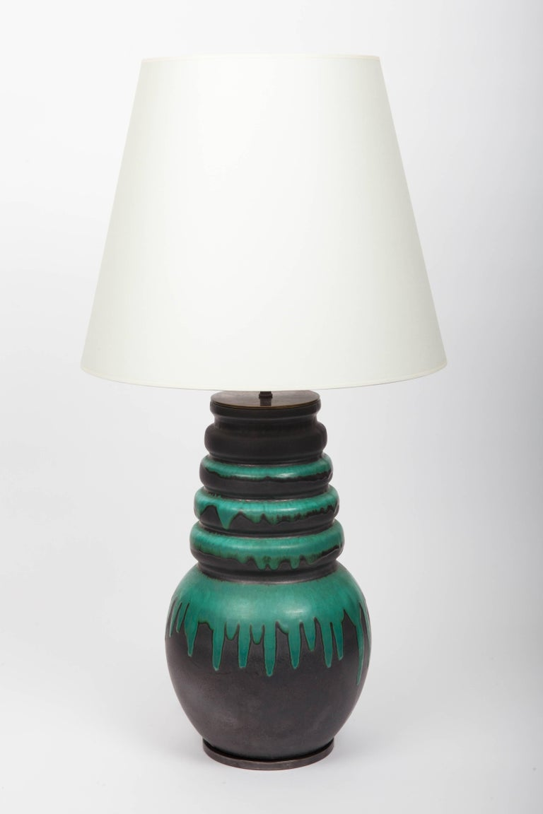 Black and Green Floor Vase by Scheurich, West Germany, Converted into Lamp In Excellent Condition For Sale In East Hampton, NY