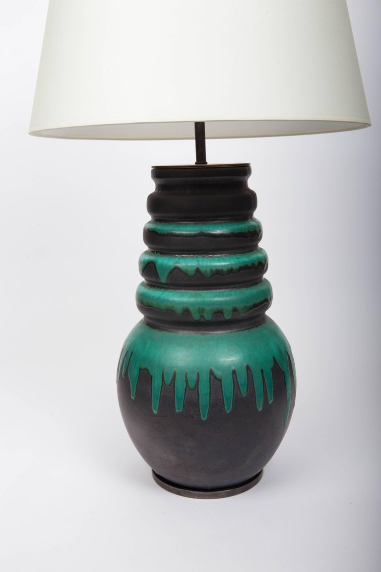 Late 20th Century Black and Green Floor Vase by Scheurich, West Germany, Converted into Lamp For Sale