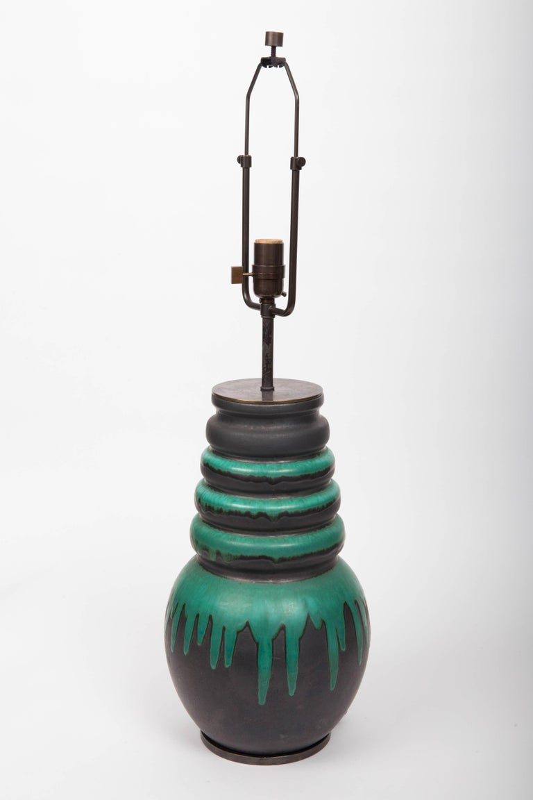 Black and Green Floor Vase by Scheurich, West Germany, Converted into Lamp For Sale 5