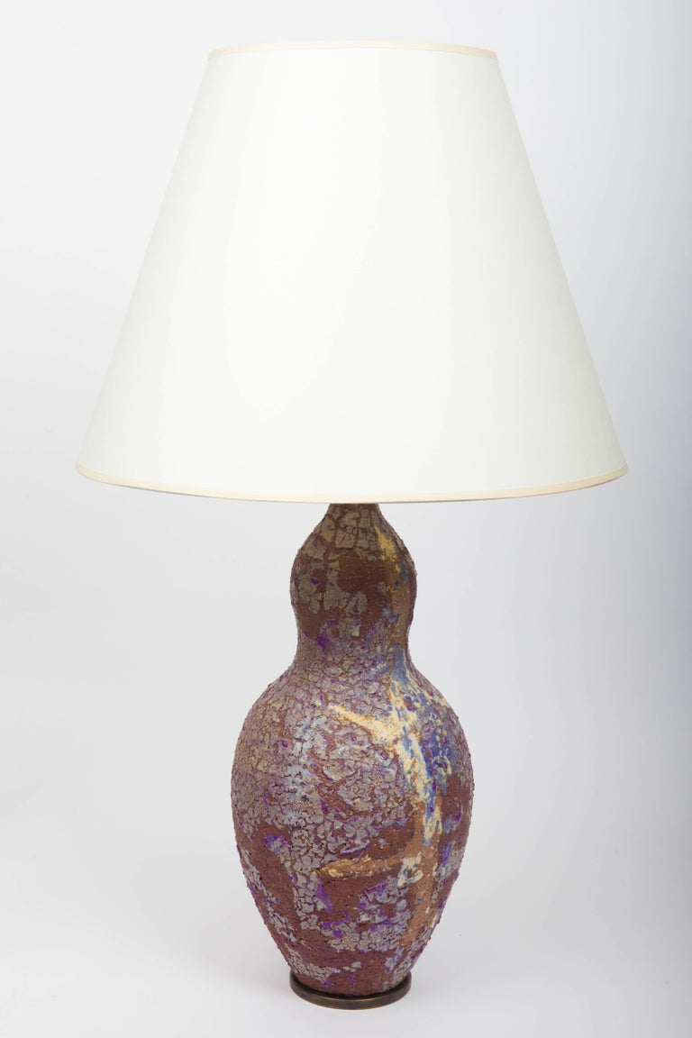 Stoneware Table Lamp with Crackle Glazed, by Marcello Fantoni 4