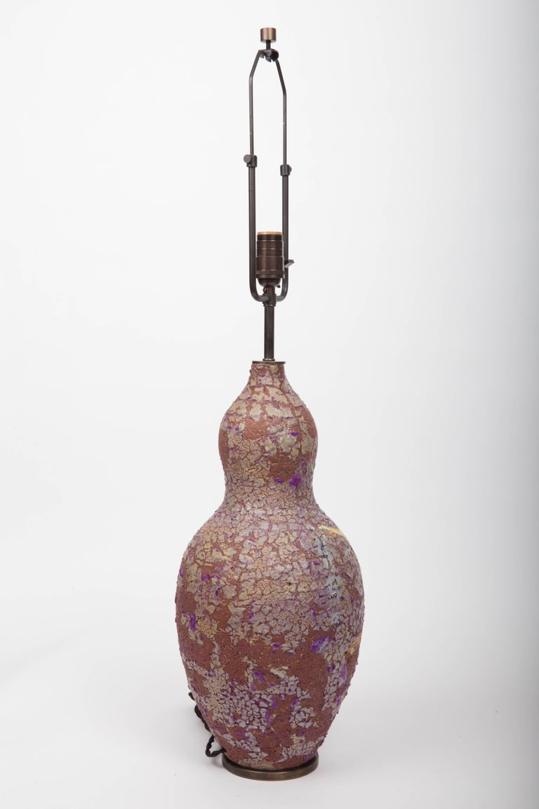 Stoneware Table Lamp with Crackle Glazed, by Marcello Fantoni 10