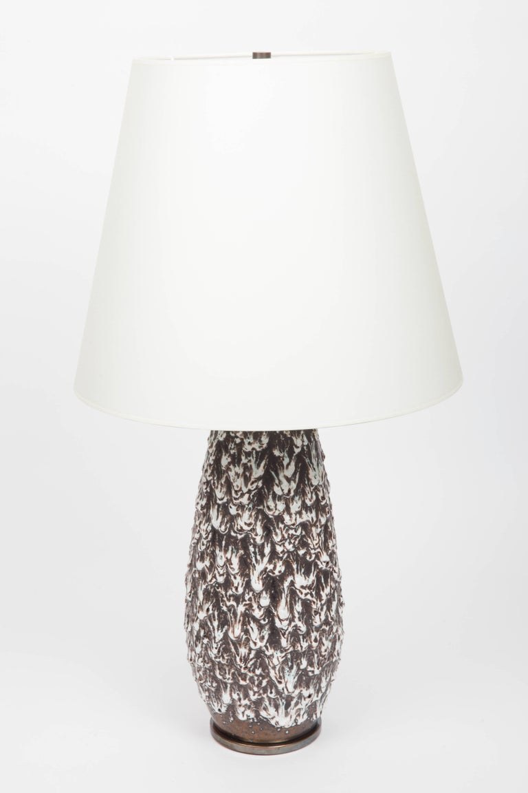 German Brown and White Fat Lava Vase Converted into Lamp For Sale