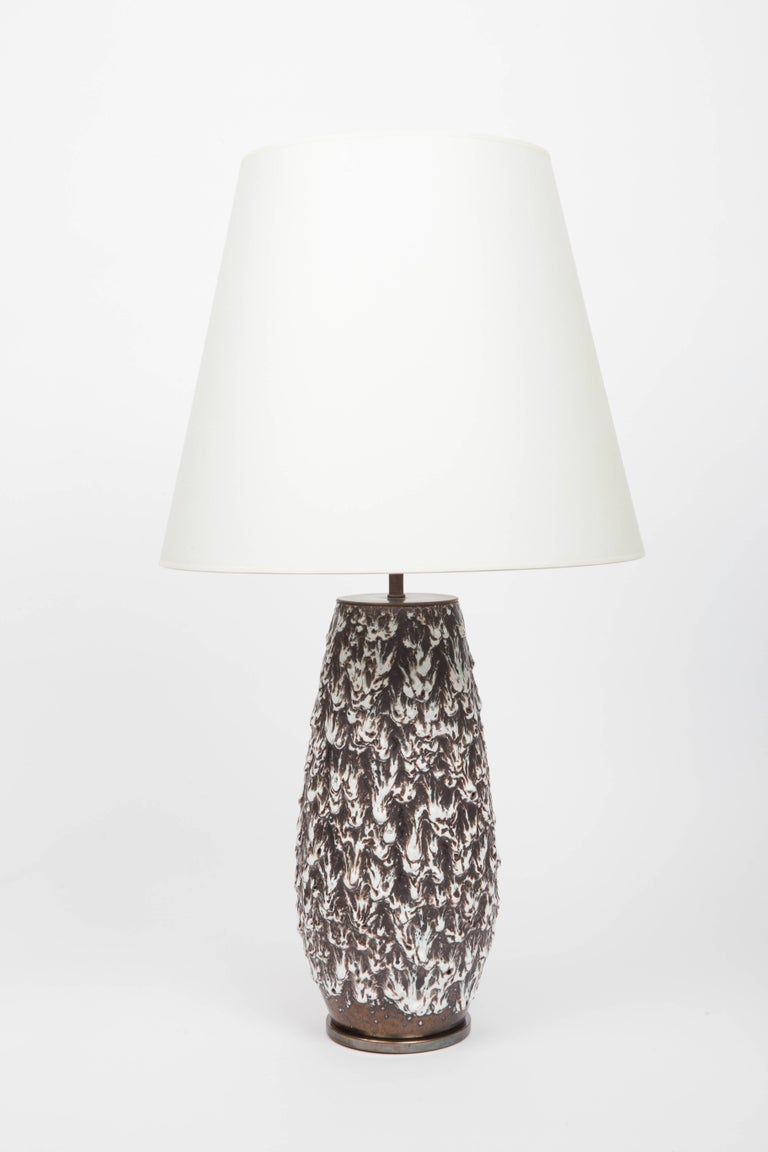Brown and White Fat Lava Vase Converted into Lamp For Sale 1