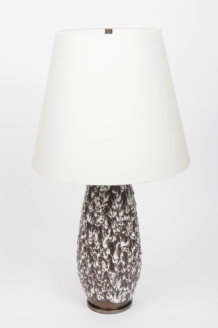 Brown and White Fat Lava Vase Converted into Lamp For Sale 2