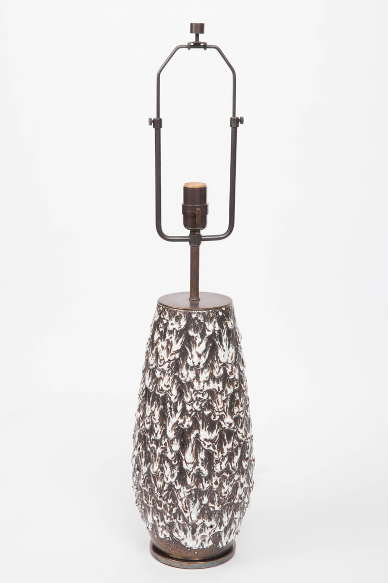Brown and white fat lava vase converted into lamp,  West Germany, 20th century  Shade not included Newly rewired with black twisted silk cord and bronze finish on fittings.