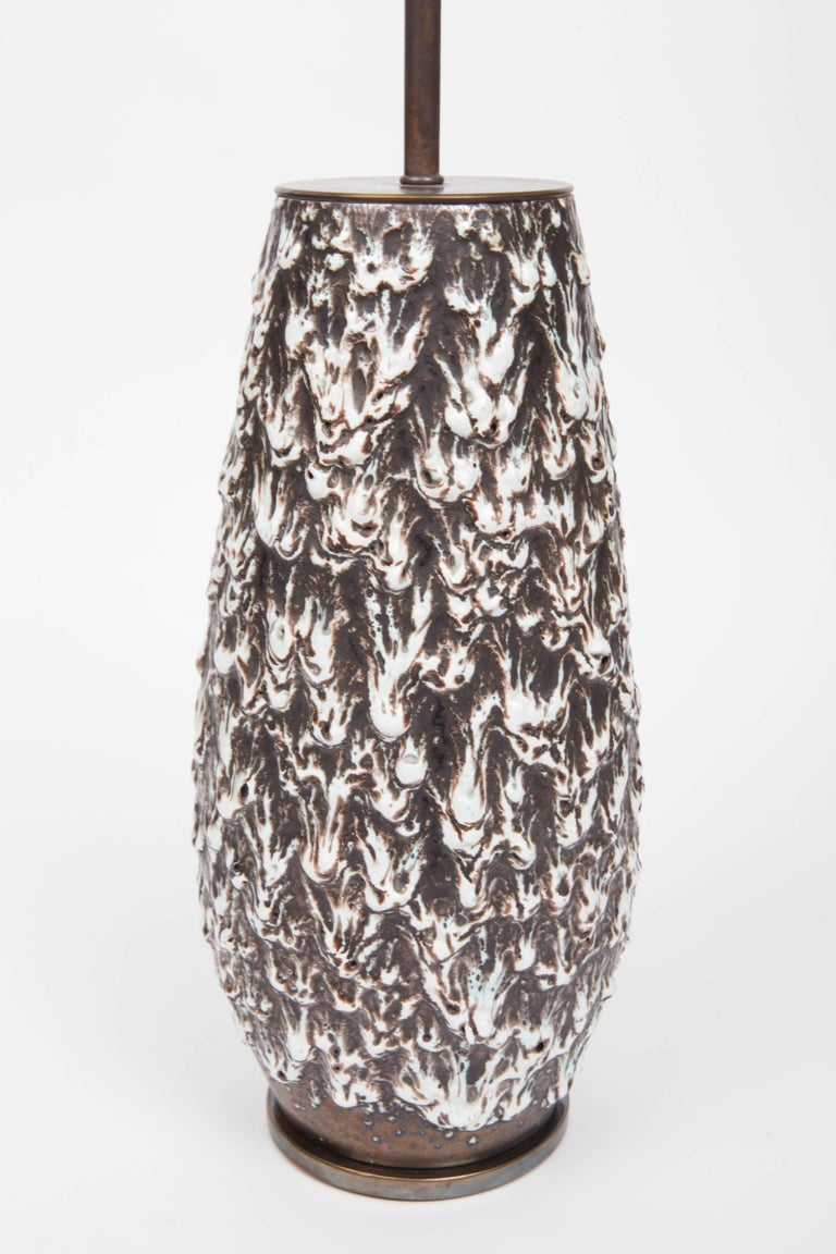 Brown and White Fat Lava Vase Converted into Lamp In Excellent Condition For Sale In East Hampton, NY