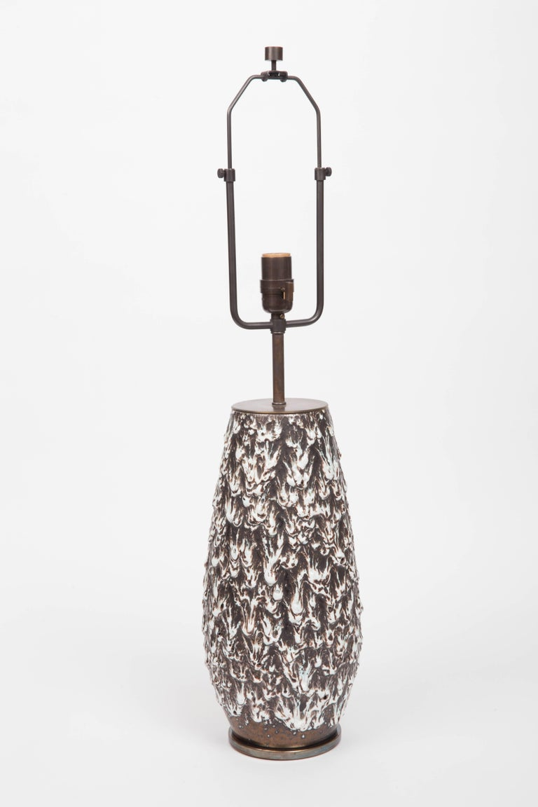 Brown and White Fat Lava Vase Converted into Lamp For Sale 4