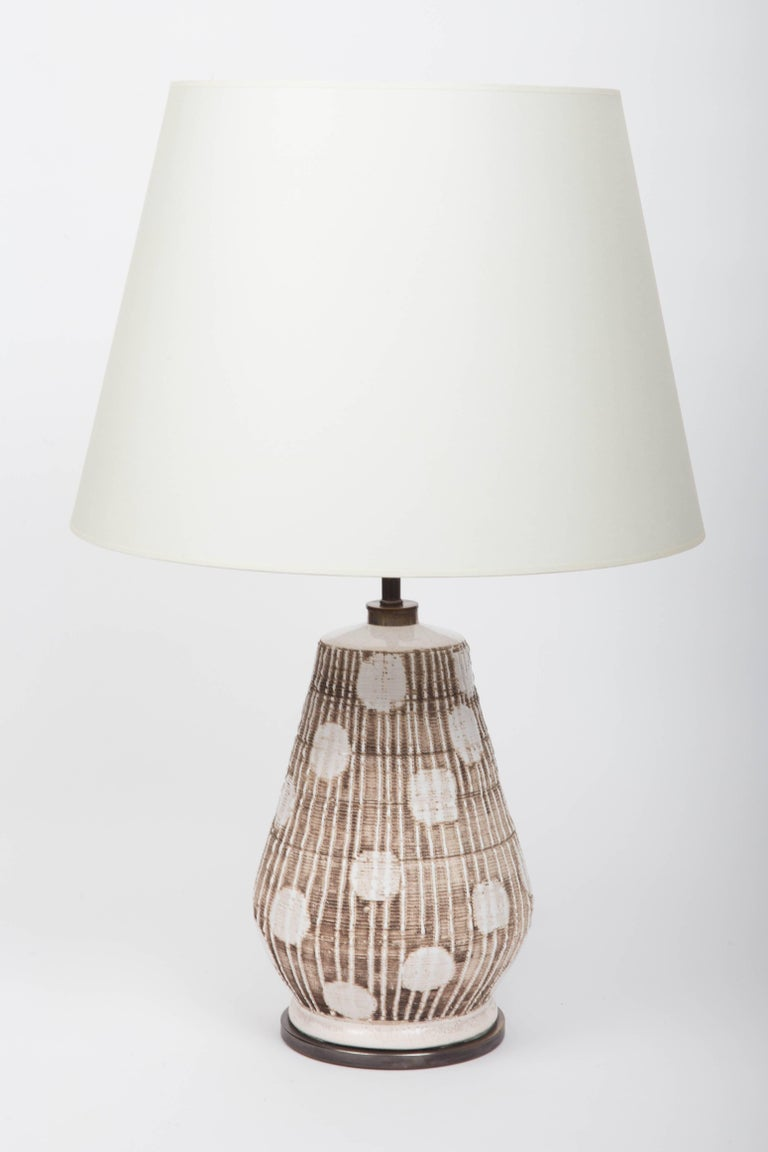 Bronze Ceramic Table Lamp in Brown and White with Graphic Dots For Sale