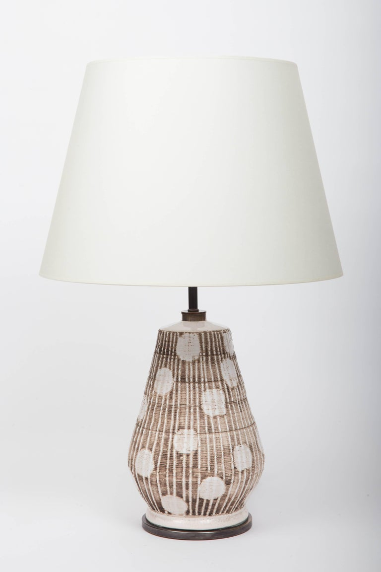 Ceramic Table Lamp in Brown and White with Graphic Dots For Sale 1