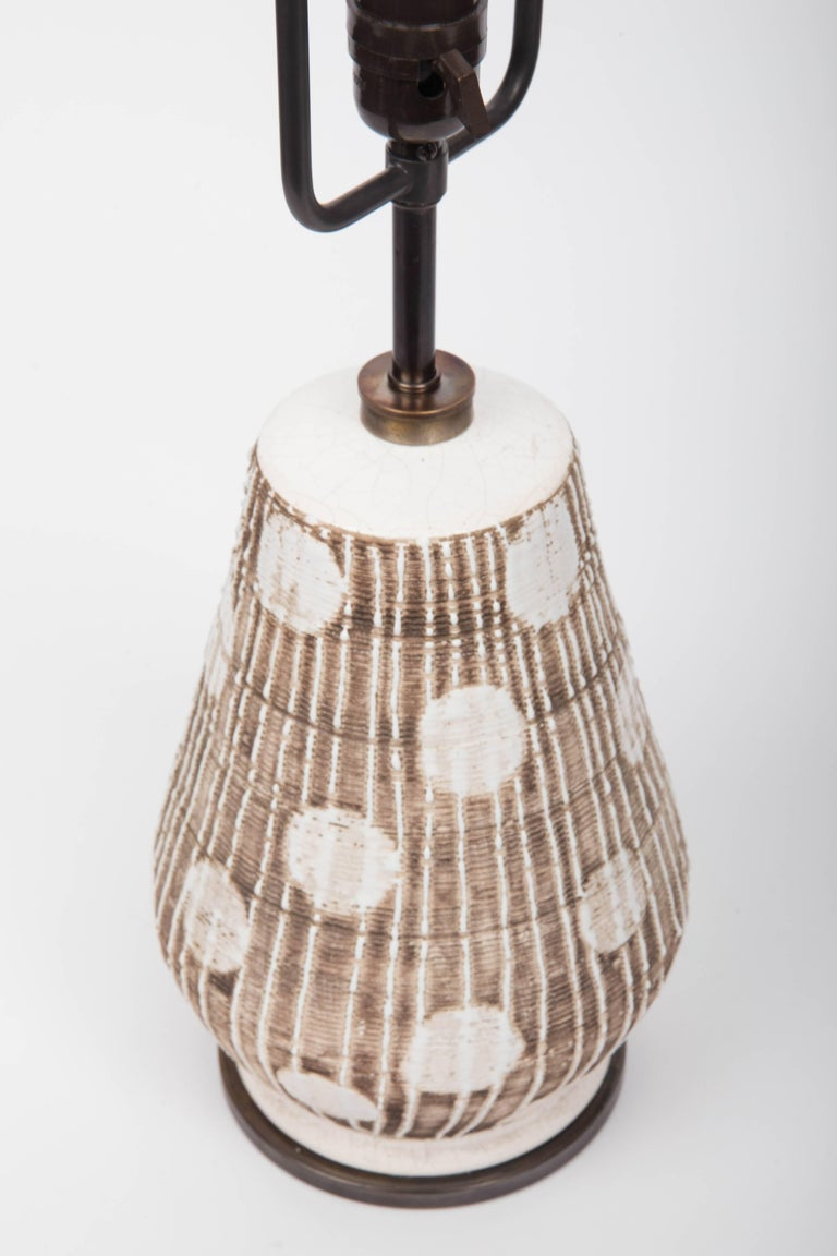 20th Century Ceramic Table Lamp in Brown and White with Graphic Dots For Sale