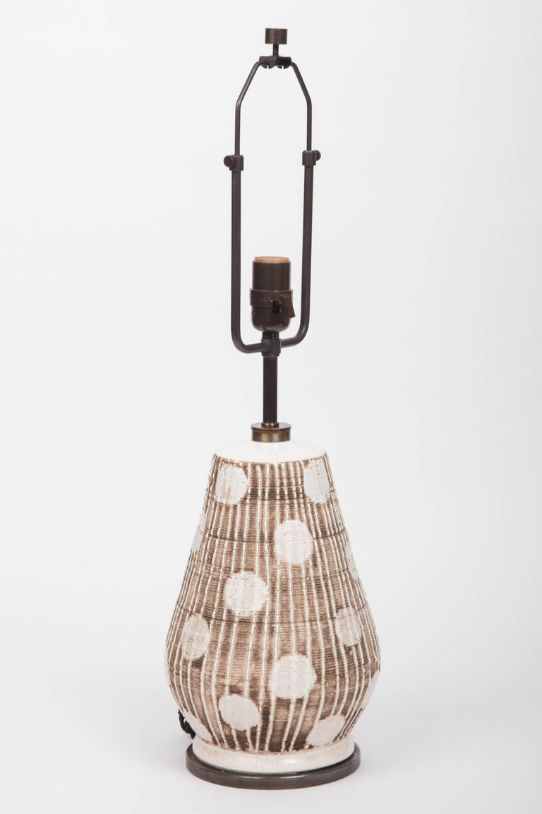 Ceramic Table Lamp in Brown and White with Graphic Dots For Sale 4