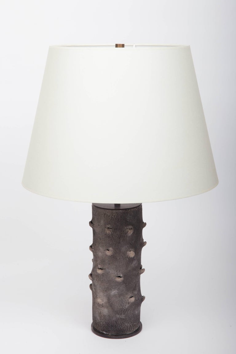 Matte Grey Table Lamp with Bark-Like Texture 2