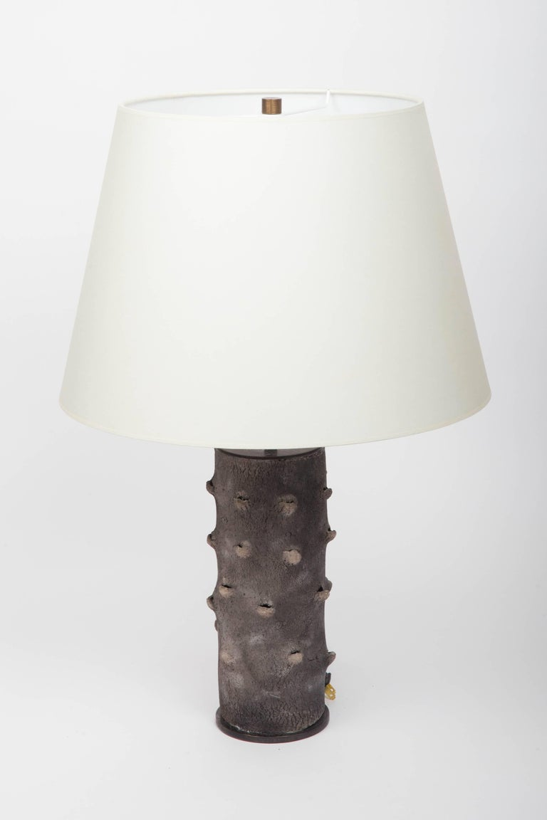 Matte Grey Table Lamp with Bark-Like Texture 10