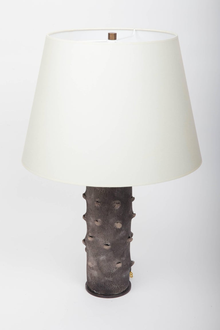 Matte Grey Table Lamp with Bark-Like Texture 9