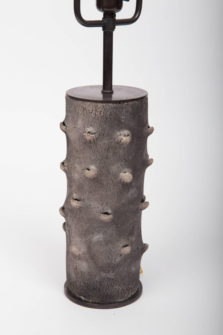 Matte Grey Table Lamp with Bark-Like Texture 7