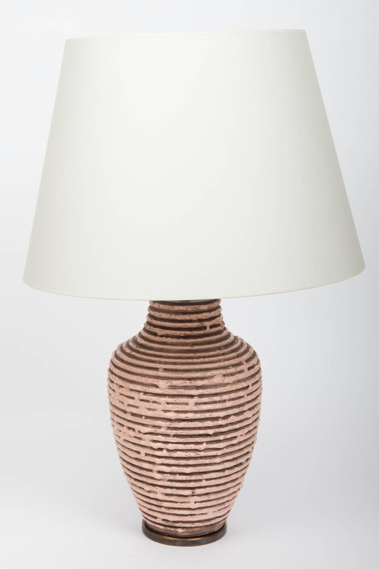 Soft Pink Textural Striped Ceramic Table Lamp 5