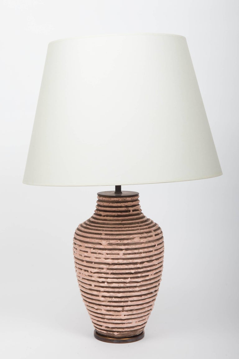 Soft Pink Textural Striped Ceramic Table Lamp 6