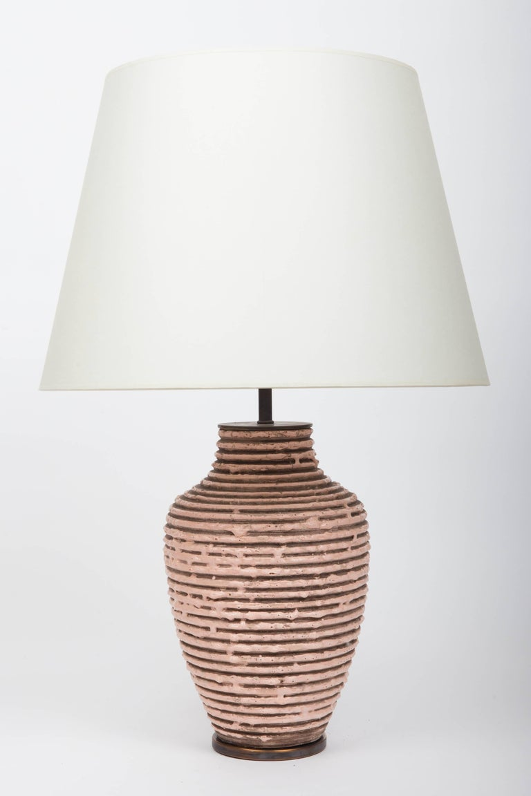 Soft Pink Textural Striped Ceramic Table Lamp 8