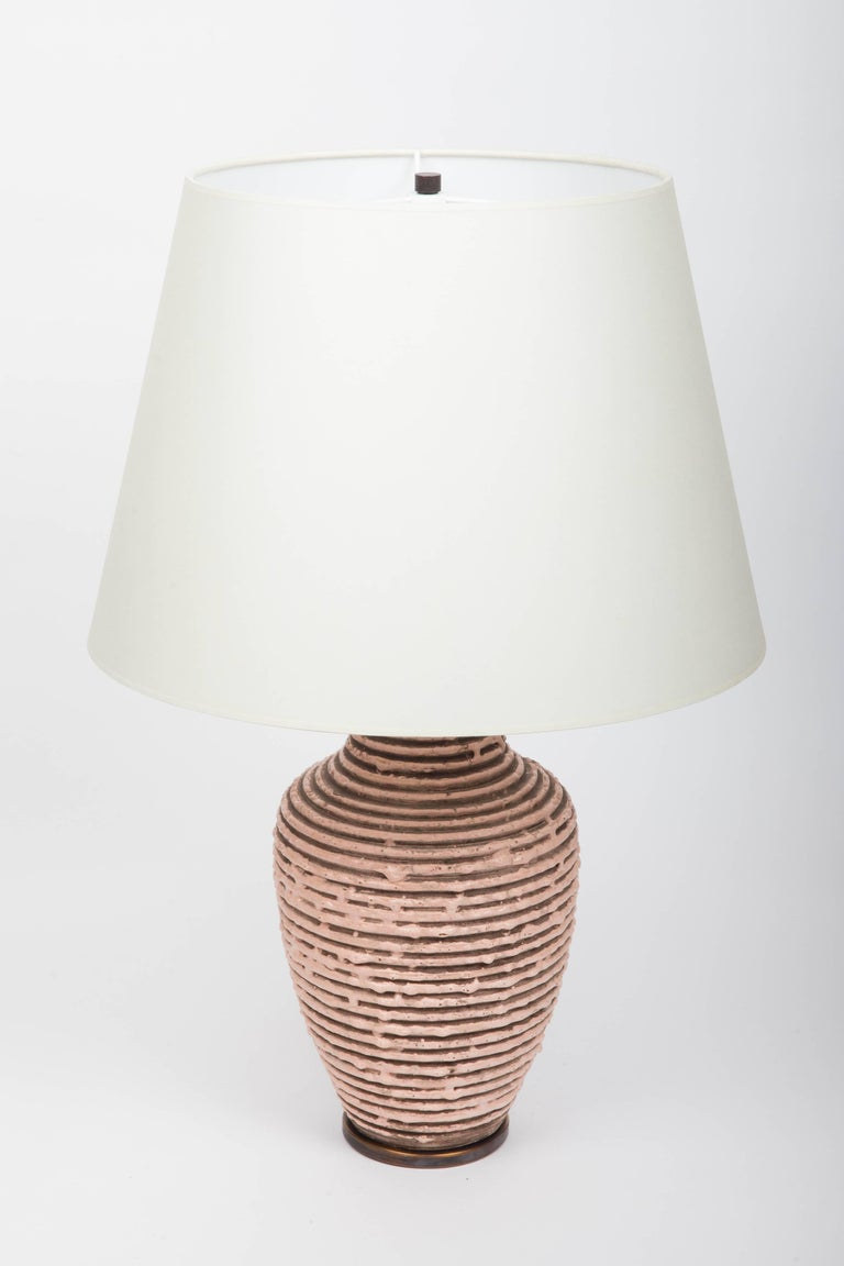 Soft Pink Textural Striped Ceramic Table Lamp 9
