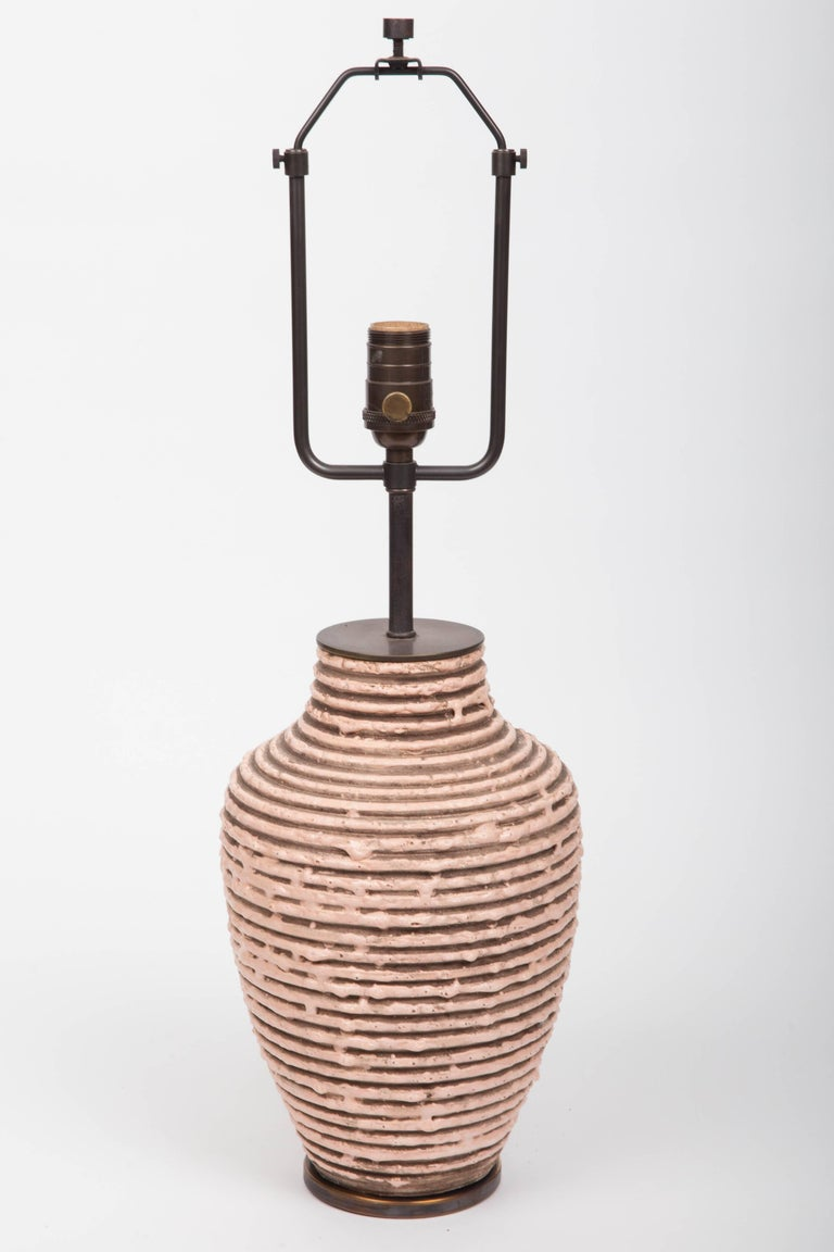 Soft Pink Textural Striped Ceramic Table Lamp 2