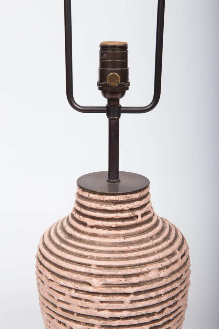 Soft Pink Textural Striped Ceramic Table Lamp 3