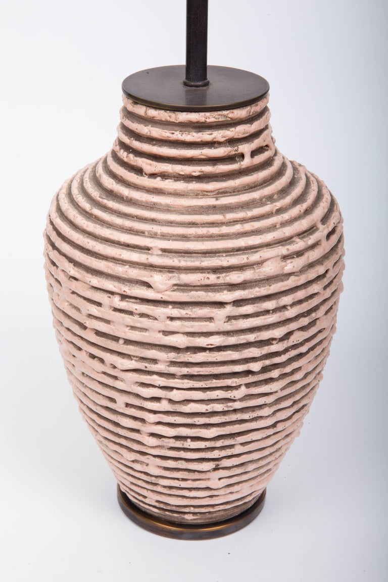 Soft Pink Textural Striped Ceramic Table Lamp 4