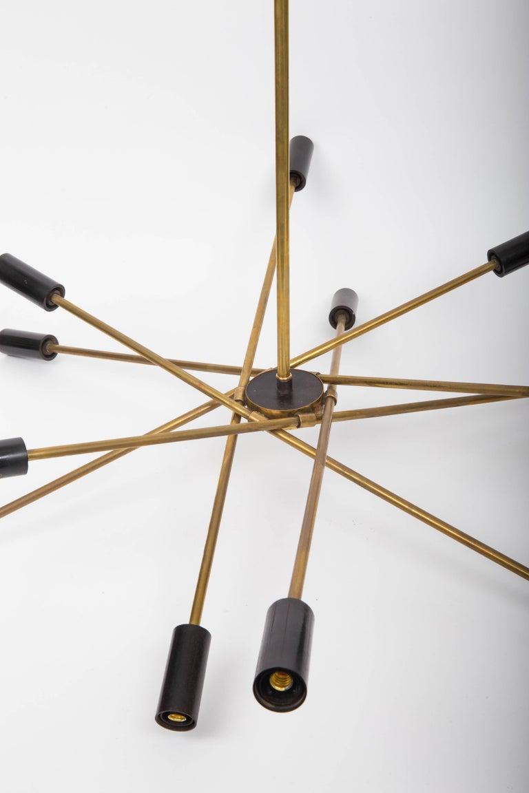 Mid-Century Modern Brass and Black Sputnik Chandelier For Sale