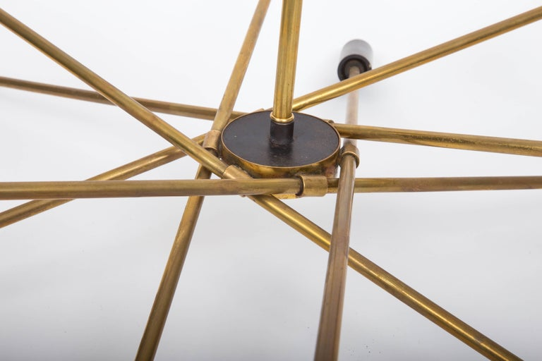 Italian Brass and Black Sputnik Chandelier For Sale