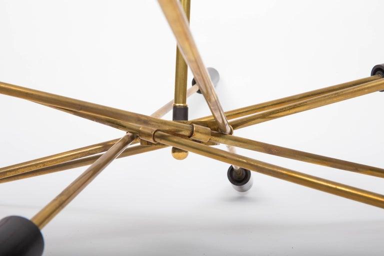 Blackened Brass and Black Sputnik Chandelier For Sale