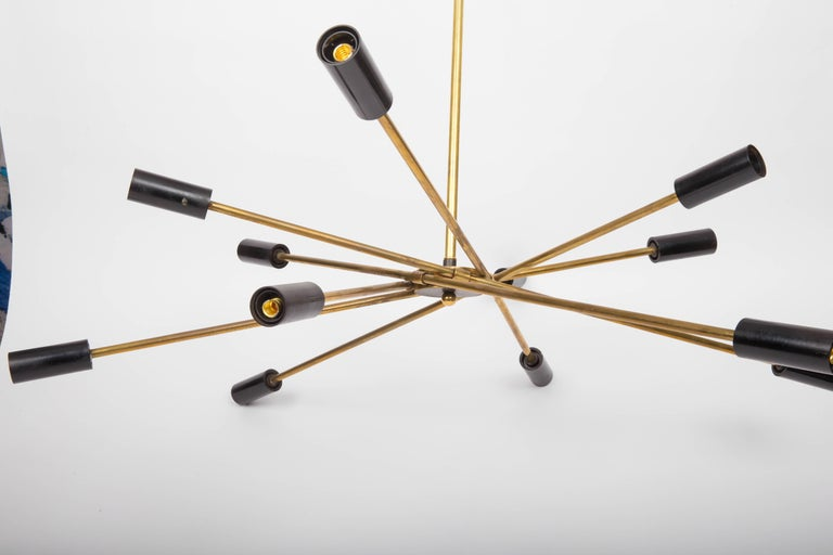Brass and Black Sputnik Chandelier In Good Condition For Sale In East Hampton, NY