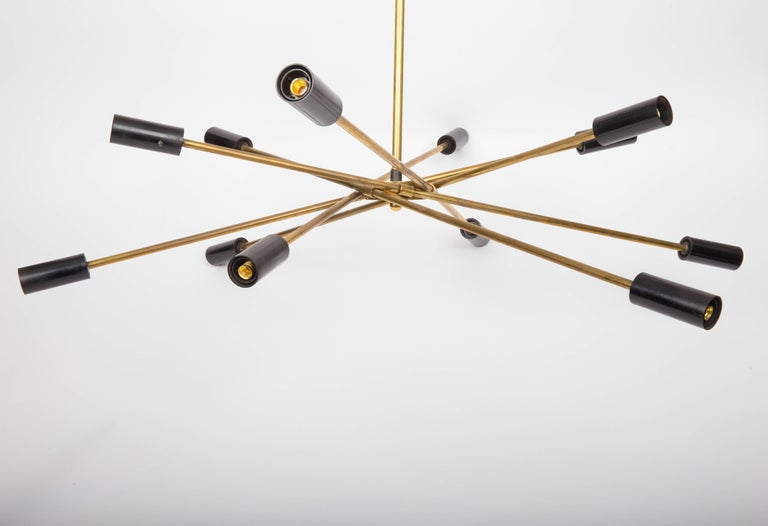 20th Century Brass and Black Sputnik Chandelier For Sale