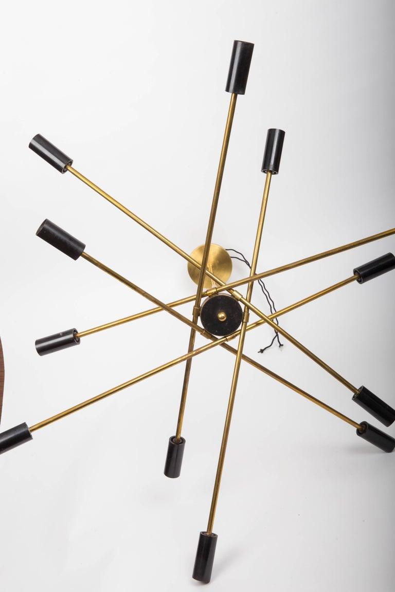 Brass and Black Sputnik Chandelier For Sale 1