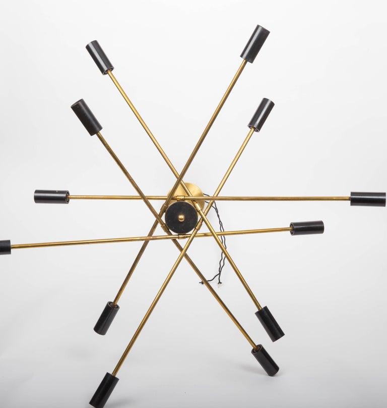 Brass and Black Sputnik Chandelier For Sale 2