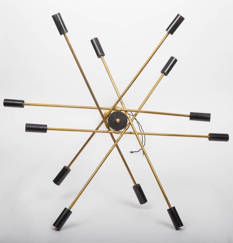Brass and Black Sputnik Chandelier For Sale 3