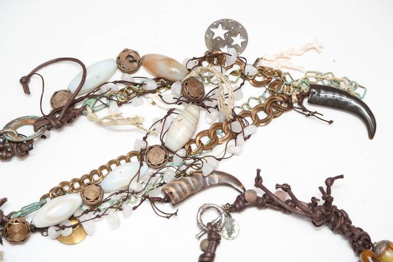 European Marzia Z Jewelry Designer, Italy, Unique Necklaces, with Ethnic, Antique Symbols For Sale