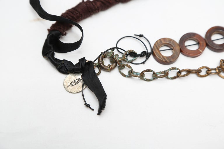 Contemporary Marzia Z Jewelry Designer, Italy, Unique Necklaces, with Ethnic, Antique Symbols For Sale