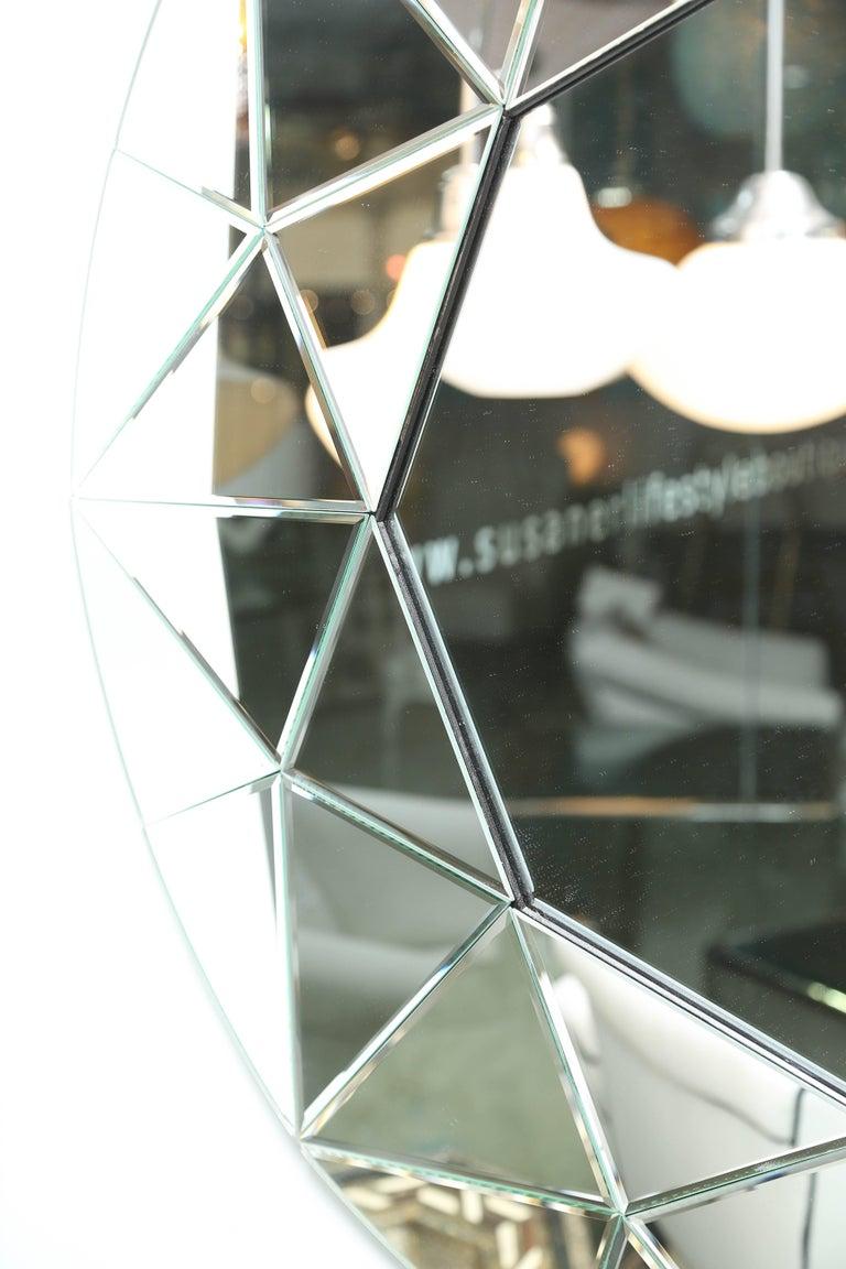 Modern Mirror, Round, Large, Beveled, Elegant, Contemporary For Sale