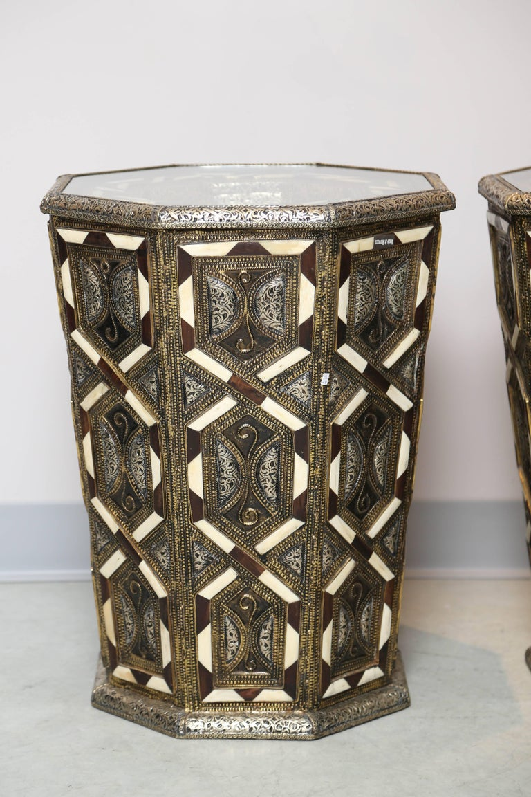 Moroccan Side Tables, Handcrafted in Morocco,metal and Faux Bone Inlay 2
