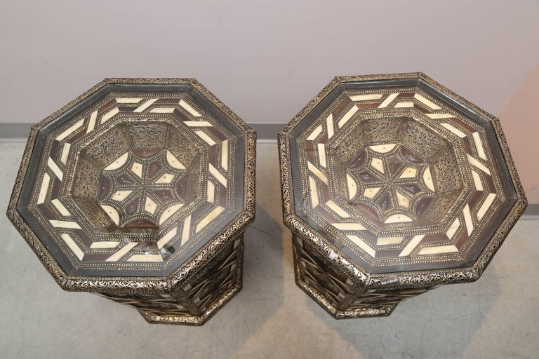 Moorish Moroccan Side Tables, Handcrafted in Morocco,metal and Faux Bone Inlay For Sale
