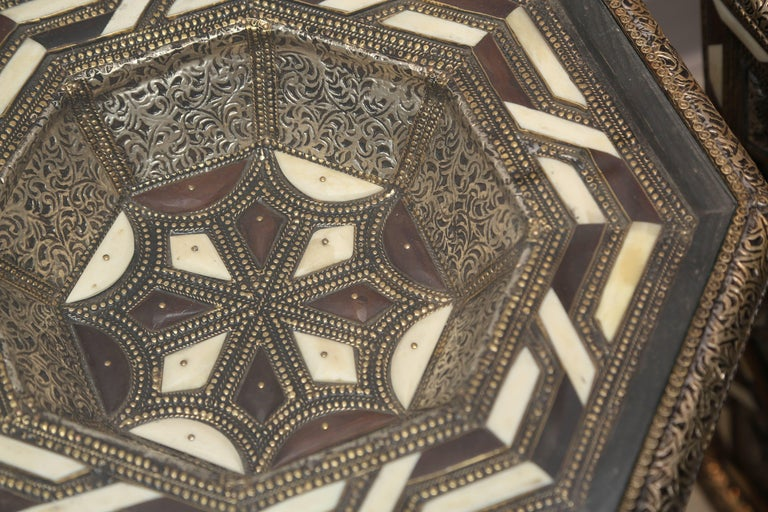 Moroccan Side Tables, Handcrafted in Morocco,metal and Faux Bone Inlay 4