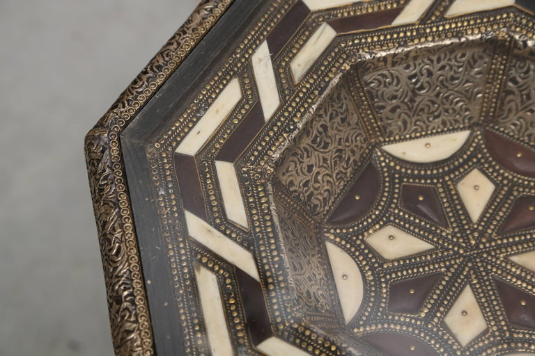 Hand-Crafted Moroccan Side Tables, Handcrafted in Morocco,metal and Faux Bone Inlay For Sale